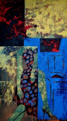 #15- die Postkarte._Regen series _ aissa santiso. oleo -lienzo. 180x100cm. 2014