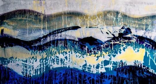 #55 - die Frau im See ._ Regen series_ aissa santiso.óleo_lienzo.120x65cm . 2014
