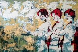 Breaking whales. aissa santiso.oil on canvas. 190x130cm