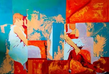 D´Red Moulin.aissa santiso.oil on canvas.190x130cm
